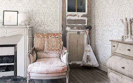 Farrow & Ball wallpaper and a chair in Ellenbach fabric feature in Jane Whitfield's French country home.