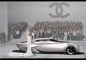 Chanel Fiole Concept Car with Karl Lagerfeld in Background