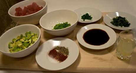 Tuna Tartare ingredients