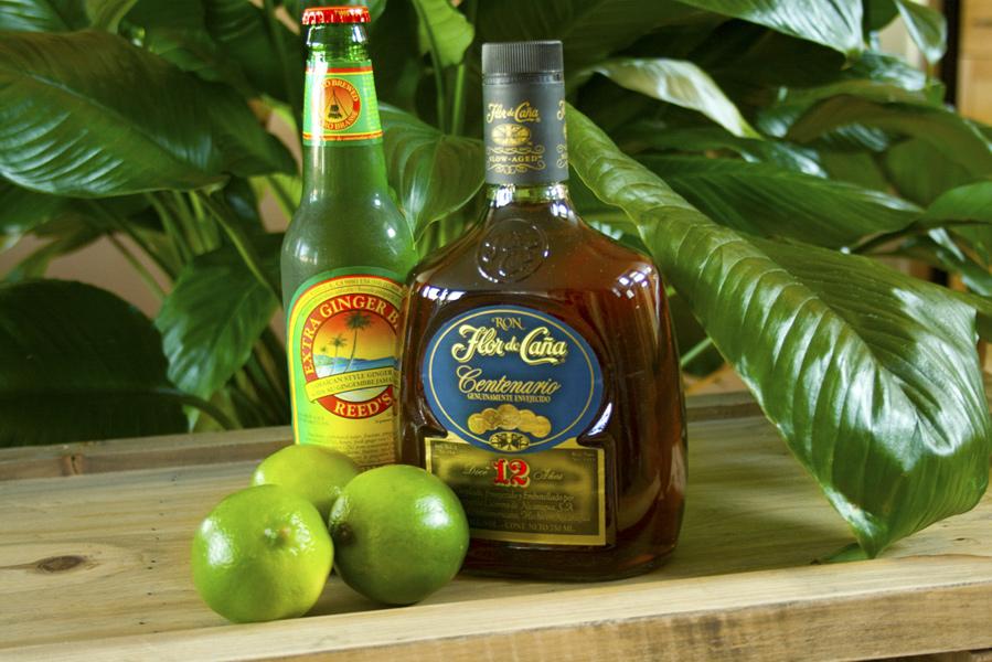 Flor de Caña rum, Ginger beer, Lime