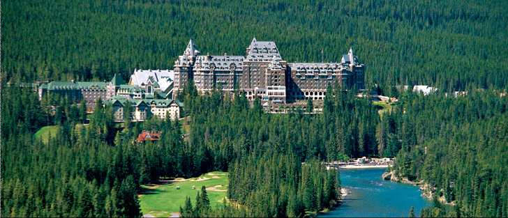Fairmont Banff Springs Hotel from Bow Valley Falls, Alberta Canada