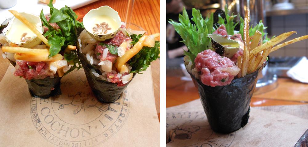 Beef Tartare & quail egg Au Pied de Cochon