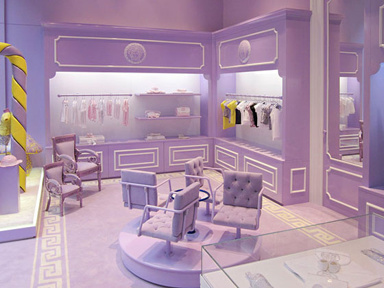 young versace house of Versace Medusa boutique shop designer versace kids versace children children's clothing store in Milan Italy rich