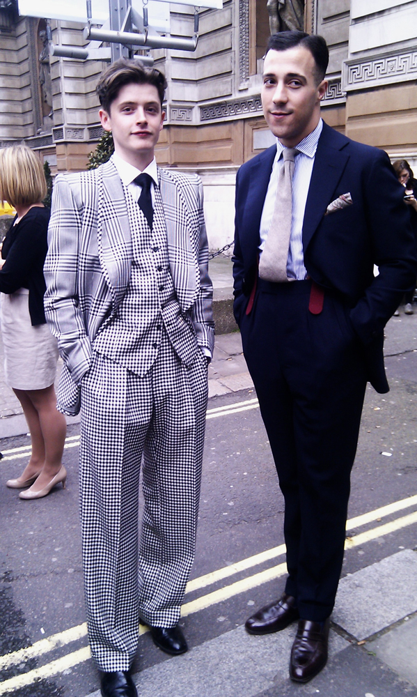 Men outside Savile Row Evening at Burlington Arcade
