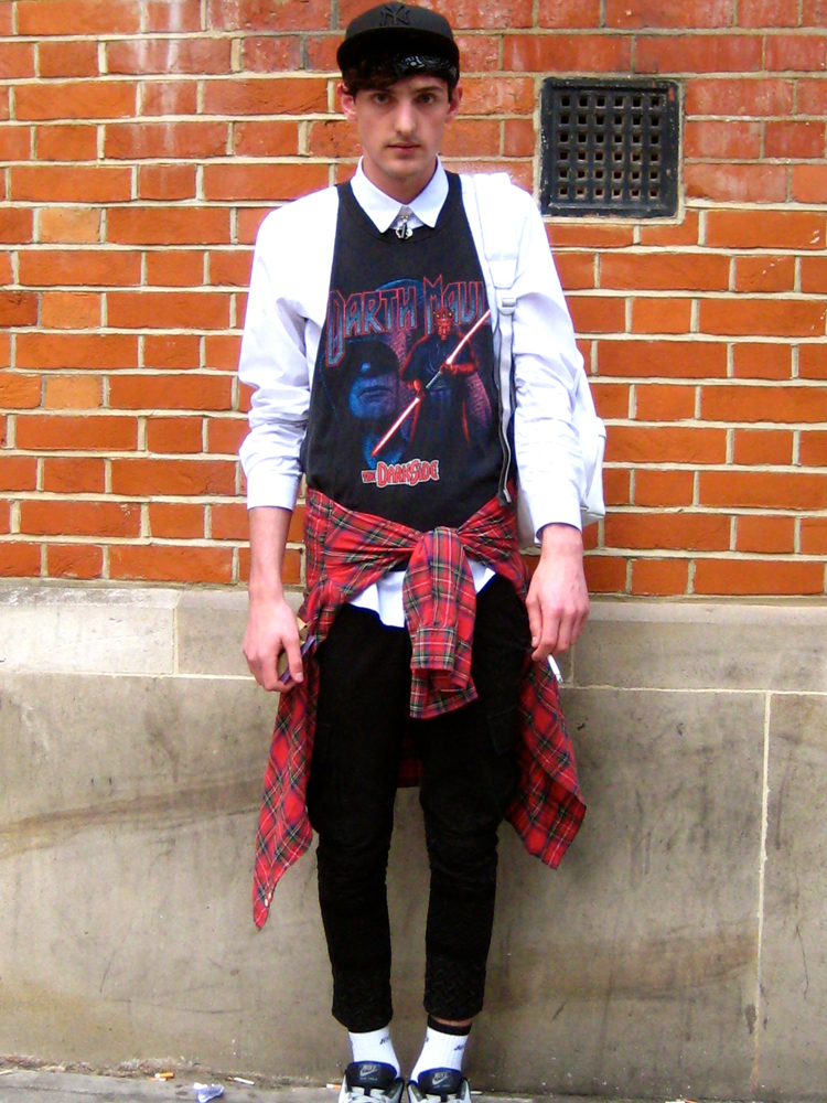 Stylist Ben Schofield in trousers by KTZ  and a Vintage top
