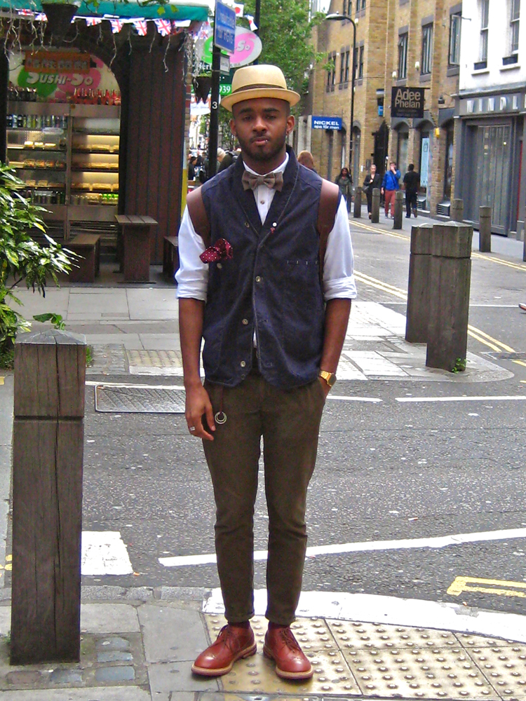 Martel Campbell in a waist coat by Paul Smith with a bowtie by D-Lyle and shoes Ben Sherman