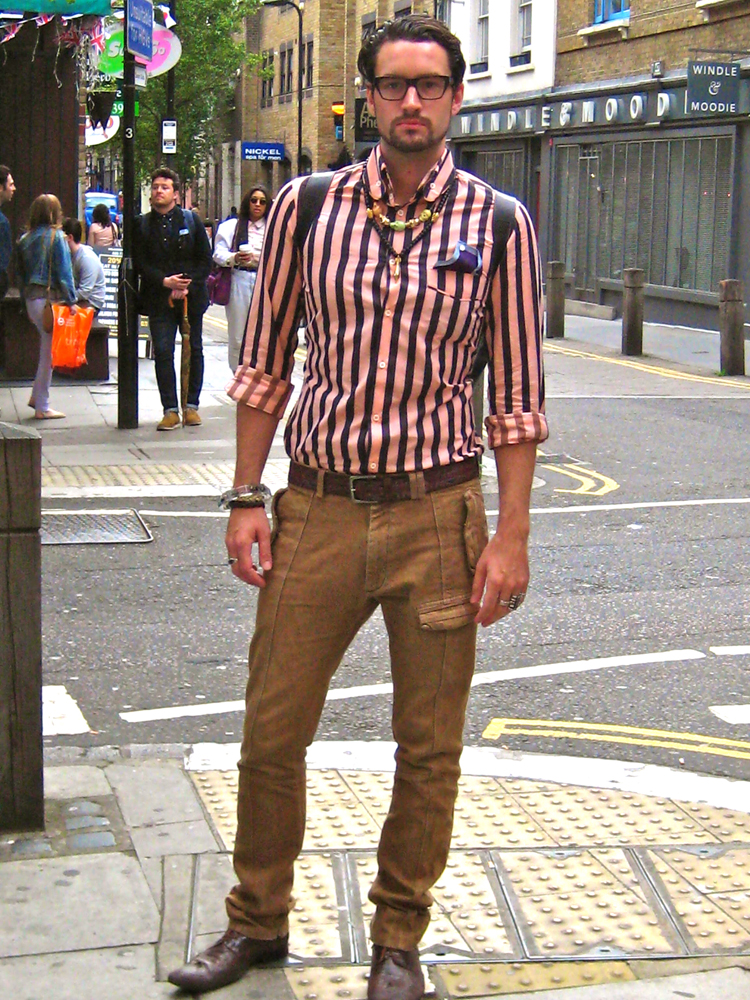 Blogger/Designer Callum Watt wearing a top by Vivienne Westwood and accessories by Topshop/ Vivienne Westwood/ Own Design