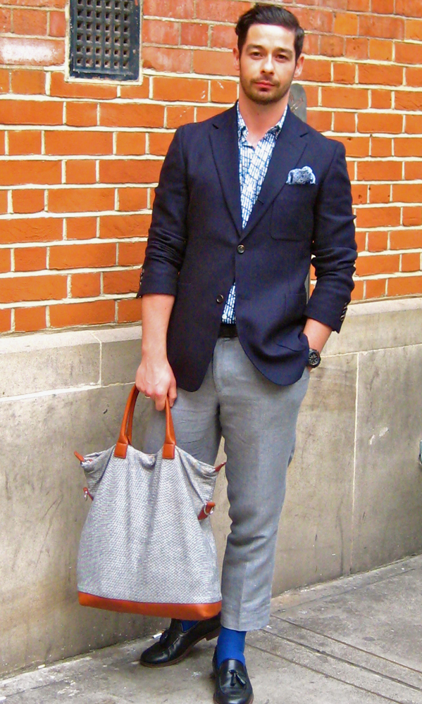 Steven in a  jacket by Our Legacy jacket paired with a Bag by WANT Les Essential De La Vie
