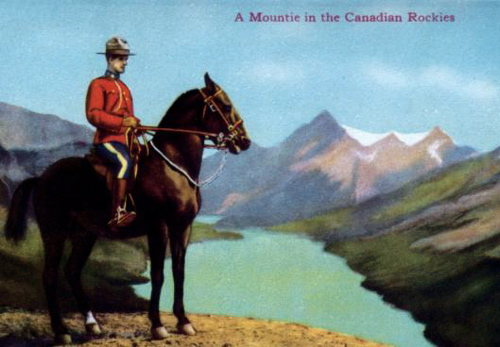 A Mountie in jasper national park at the Canadian Rockies