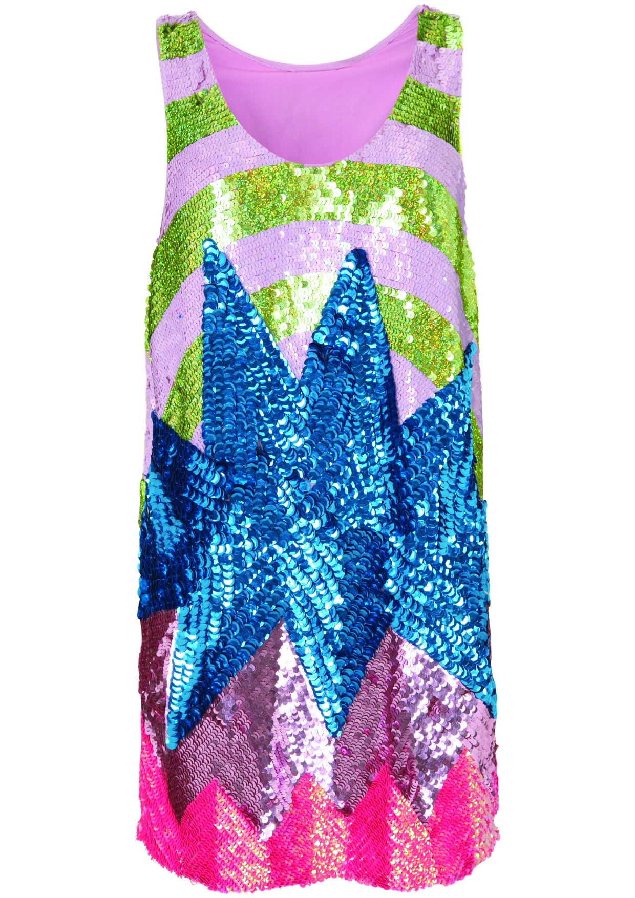 sequin pink and blue hortdress from Topshop