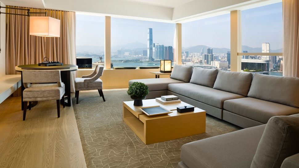 Upper House suite living room Hong kong city view